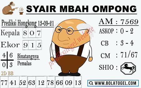 Syair Mbah Ompong HK Senin 13-09-2021