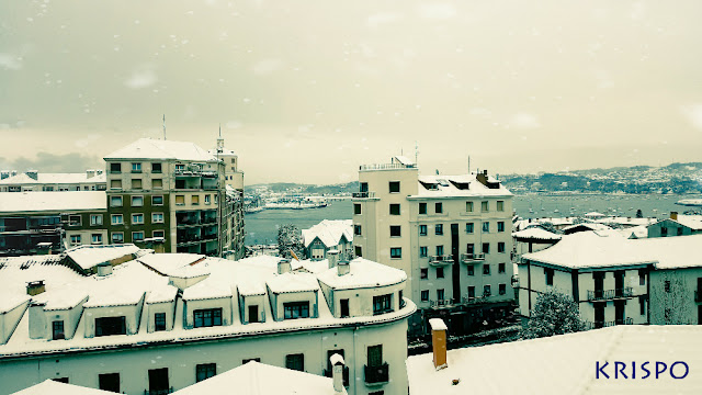 tejados de hondarribia e irun con nieve