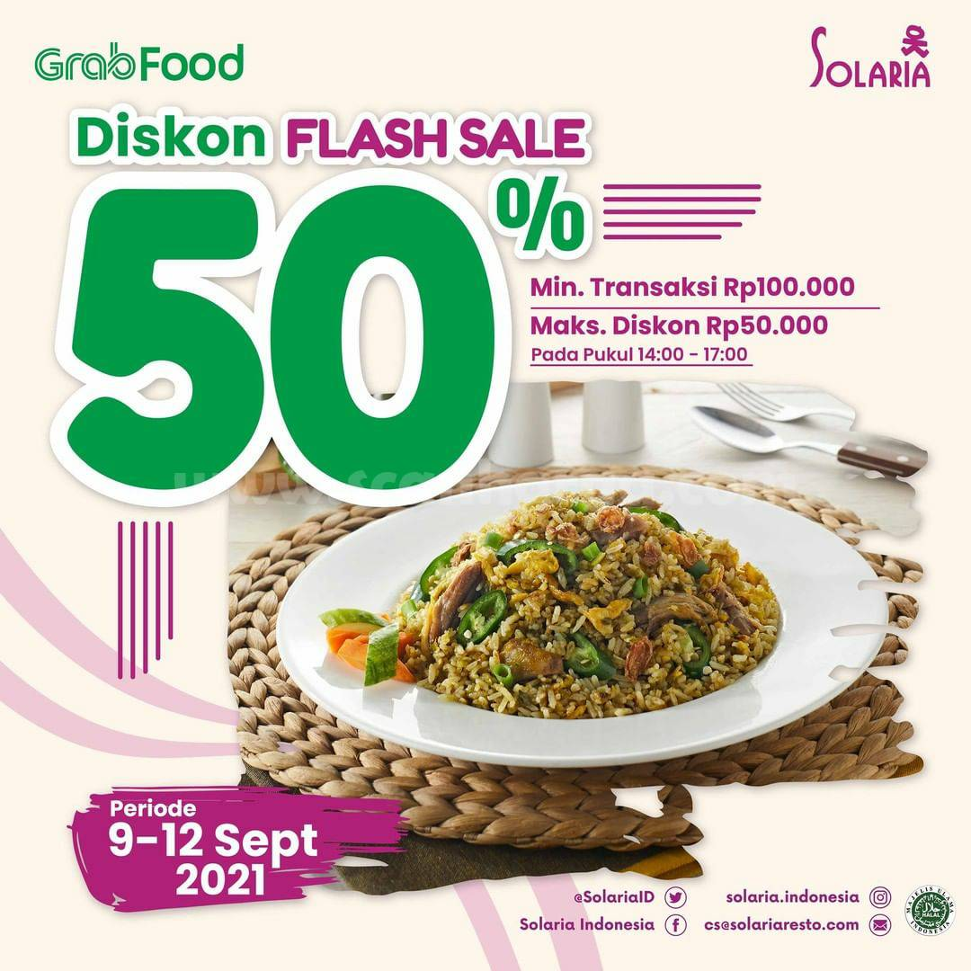 SOLARIA Promo Flash Sale GRABFOOD Diskon hingga 50%
