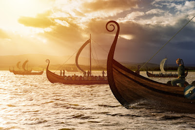 Viking ships sailing to settle Iceland