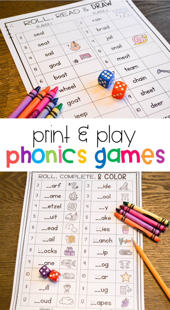 This is a graphic of Stupendous Printable Phonic Games