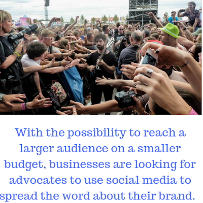 band member in large crowd with the caption:  with the possibility to reach a larger audience on a smaller budget, businesses are looking for advocates to use social media to spread the word.