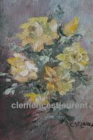 Parfum de soleil, huile 7 x 5 par Clémence St-Laurent - gerbe de roses jaunes