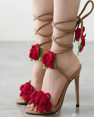 heels with flower laces elegant