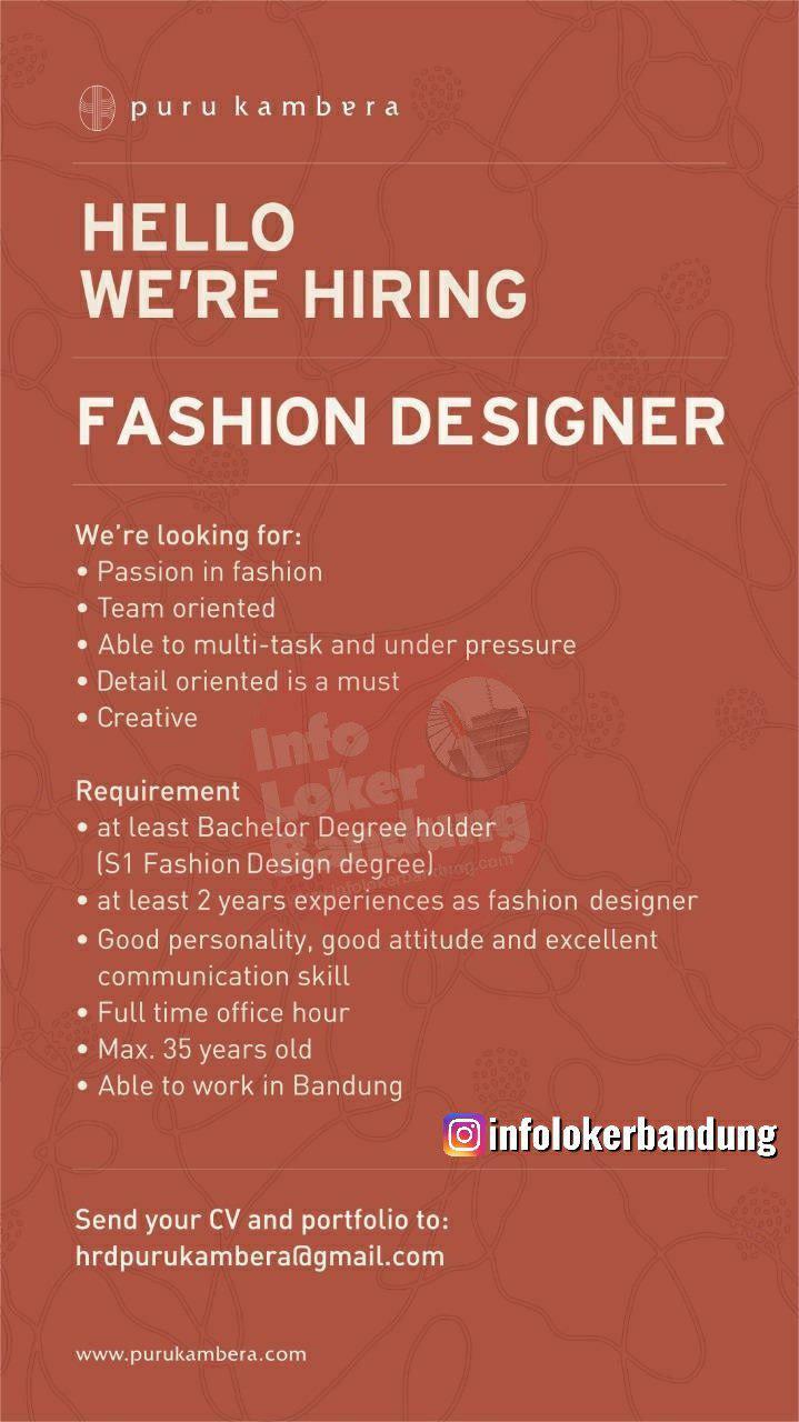 Lowongan Kerja Fashion Designer Puru Kambera Bandung Januari 2020