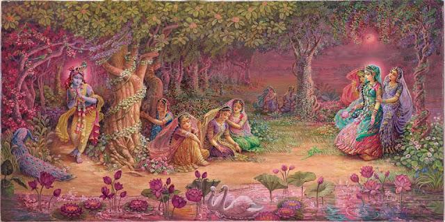 निधिवन में रास रसाते कृष्ण भगवान और राधा रानी।