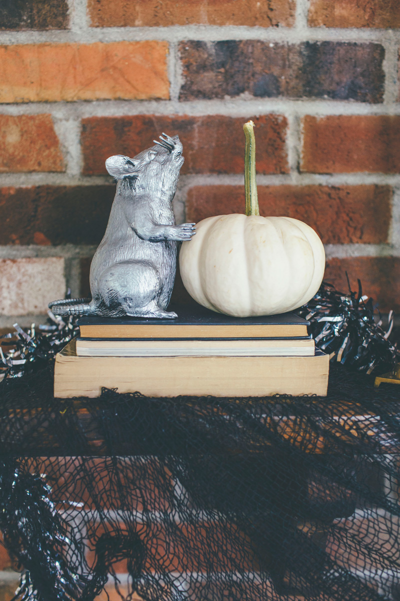 whimsical halloween fireplace mantel decor