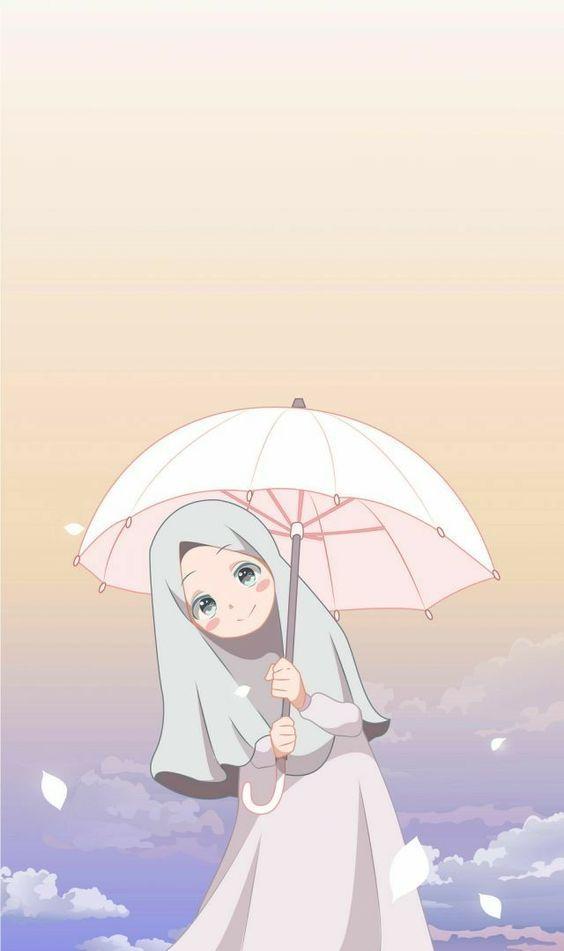 Gambar Kartun Muslimah Lucu Pakai Payung