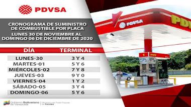 Cronograma suministro de gasolina del 30 de noviembre al 4 de diciembre de 2020