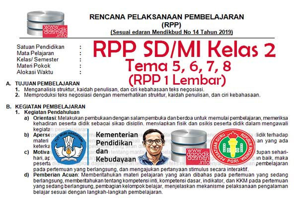 RPP 1 Lembar Tematik SD/MI Kelas 2 Tema 5 Subtema 1 2 3 4 Semester 2, Download RPP 1 Halaman Kelas 2 Tema 5 Subtema 1 2 3 4 Kurikulum 2013 SD/MI Revisi Terbaru, RPP Silabus 1 Halaman Tematik Kelas 2