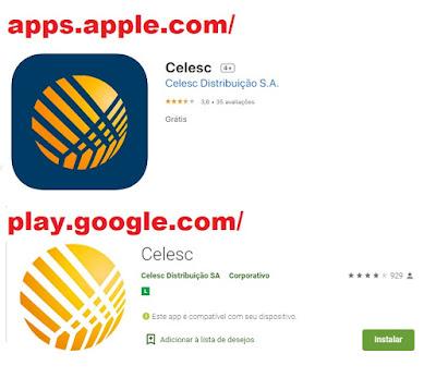 imagem dos Aplicativos para iOS e Android para tirar a Celesc 2 via