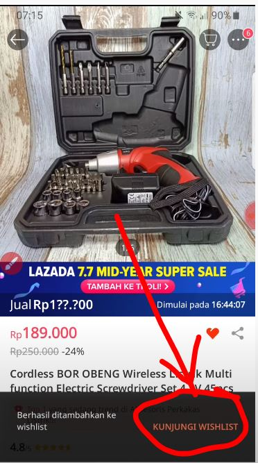 Kunjngi wishlist Lazada