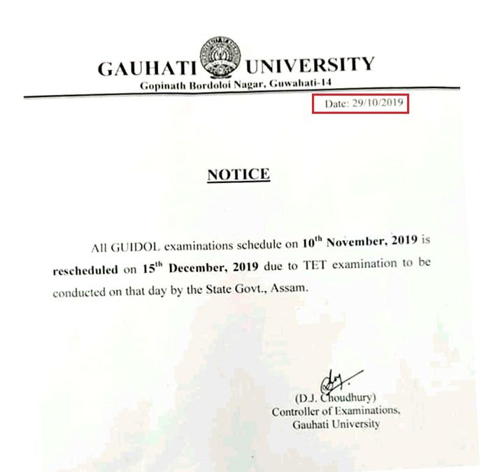 GU IDOL Examination on 10 November has been rescheduled: