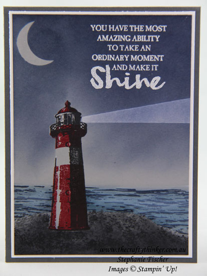 Sponging, High Tide, Night scene, lighthouse, #thecraftythinker, Stampin Up Australia Demonstrator, Stephanie Fischer, Sydney NSW
