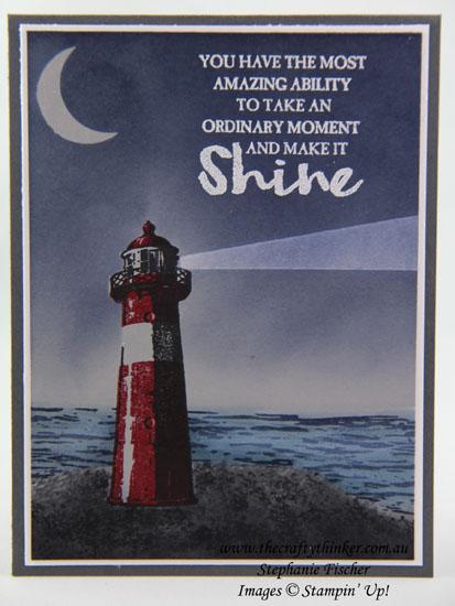 Sponging, High Tide, Night scene, lighthouse, #thecraftythinker, Stampin Up Australia Demonstrator, Stephanie Fischer, Sydney NSW