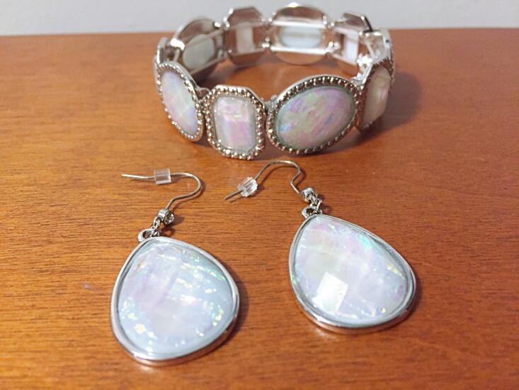 faux opal earrings and bracelet set