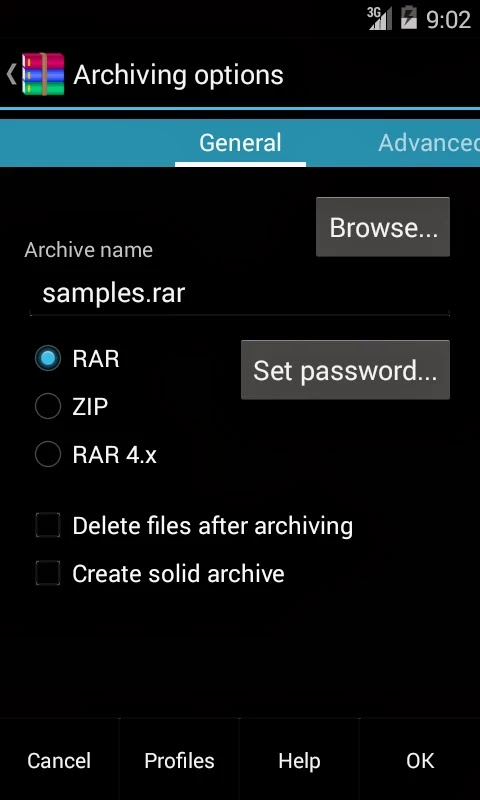 RAR for Android archiving