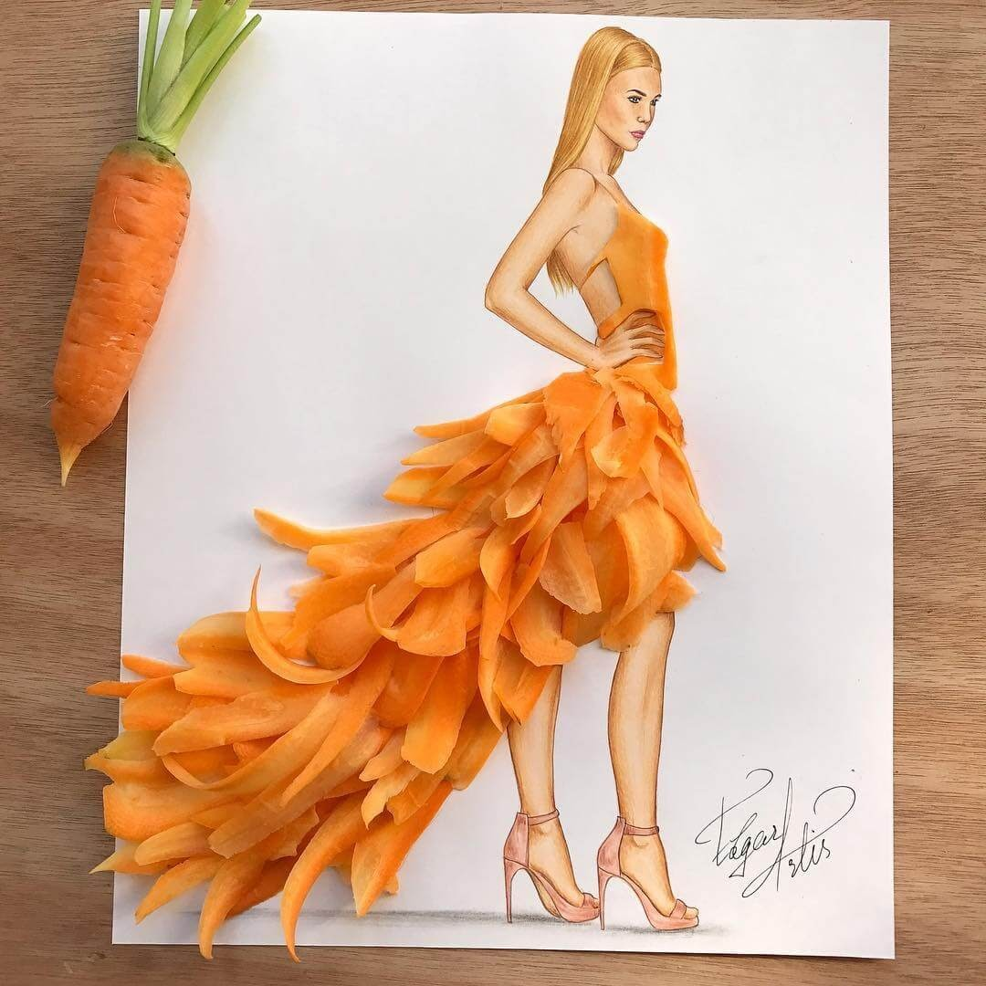 09-Carrot-couture-Edgar-Artis-Drawing-with-Everything-Food-Art-and-More-www-designstack-co