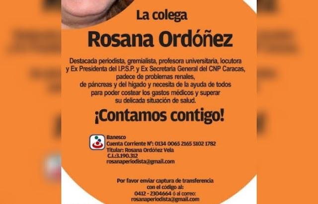 Realizan campaña de recaudación de fondos en Venezuela para costear gastos médicos de la periodista Rosana Ordóñez