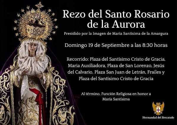 Horario e Itinerario del Rosario de la Aurora de María Santísima de la Amargura. Córdoba 19 de Septiembre del 2021