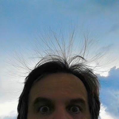 Ele viu meus cabelos eriçados e desistiu de voar. A explicação era que o céu estava descarregando eletricidade estática e que isso pode ocasionar choques em pleno voo, fora que os cabelos, quando ficam eriçados repentinamente, indicam a grande possibilidade de um raio cair por perto. Vivendo e aprendendo.