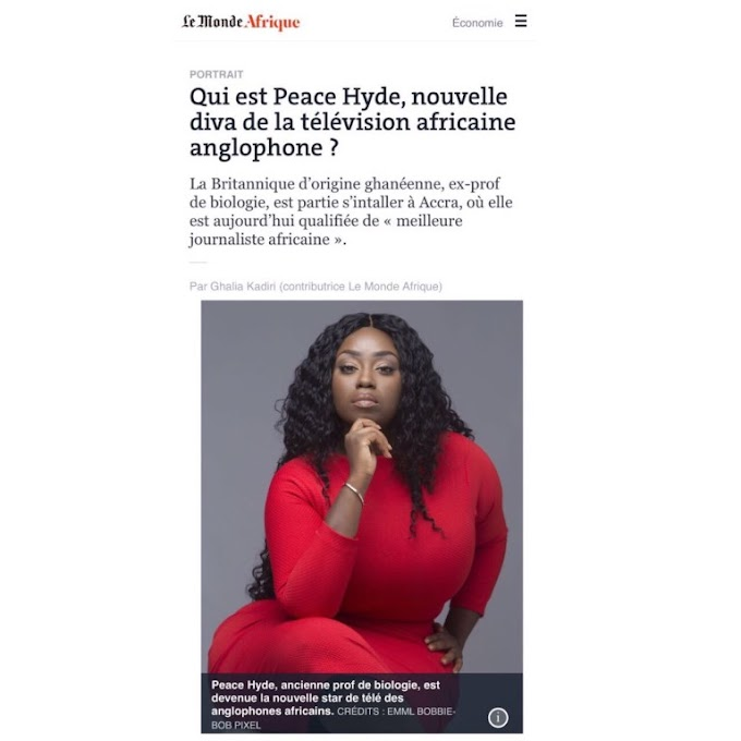 Le Monde names Peace Hyde 'Best African Journalist in Anglophone Africa'