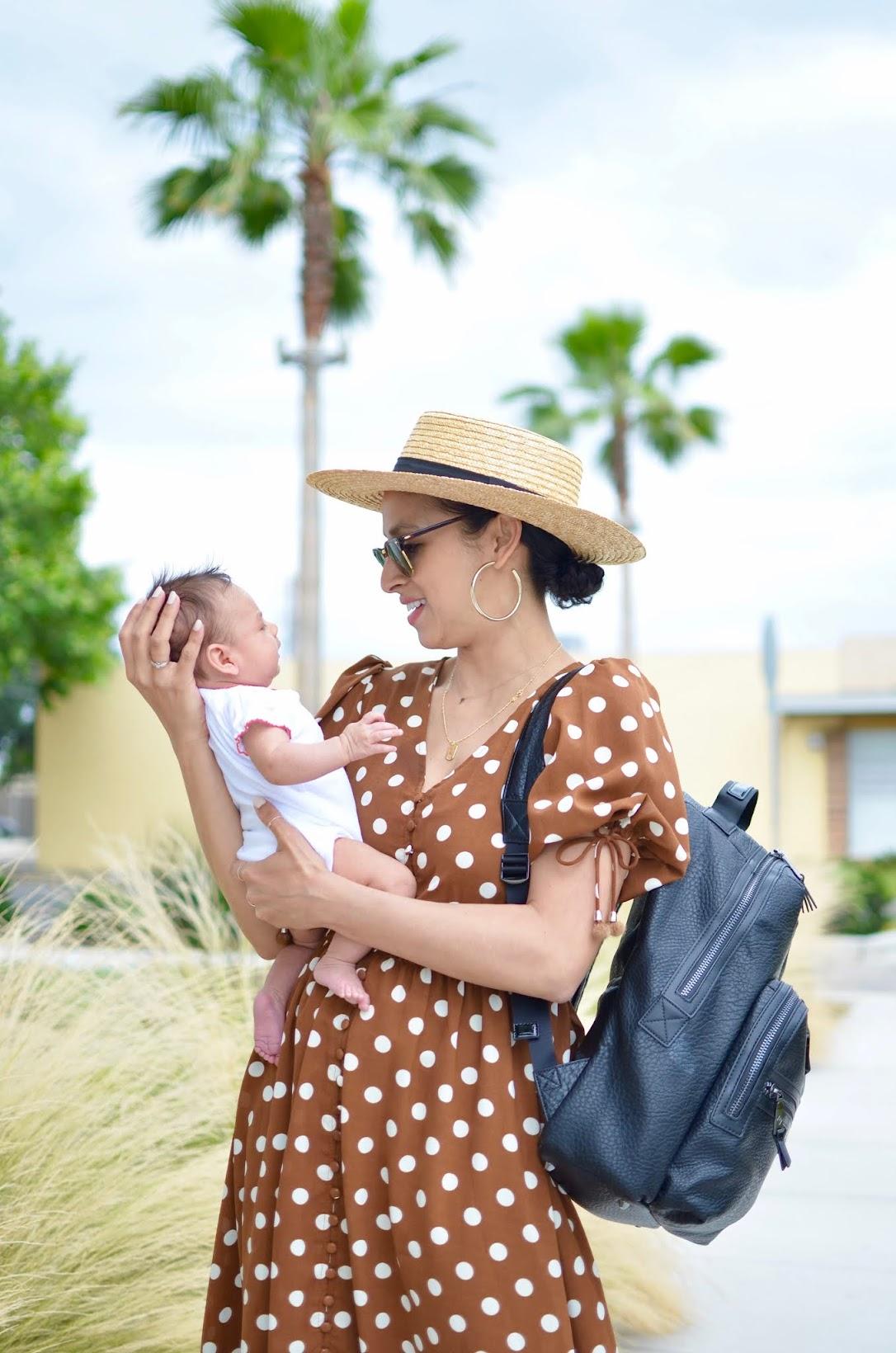 mom style, newborn mom style, Tiba + Marl diaper bag, chicwish, polka dot dress, FarFetch,