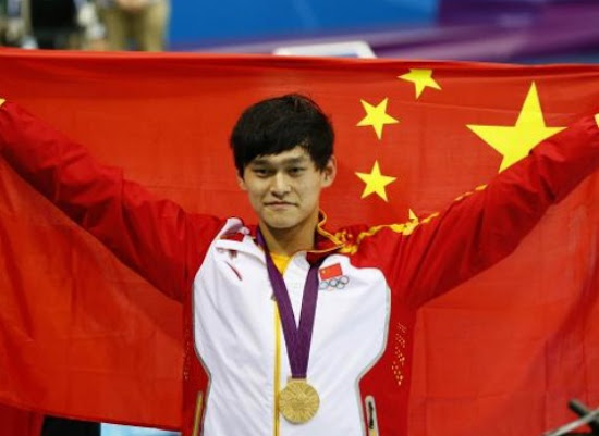 Yang Sun with Flag in London Olympic 2012