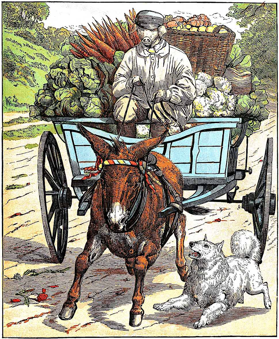 an 1866 children's book in color with pig people