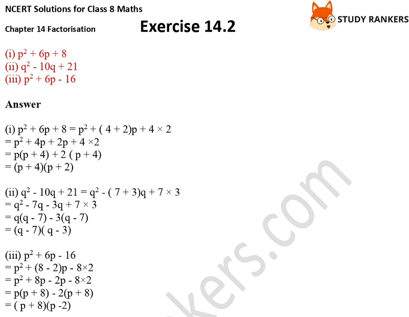 NCERT Solutions for Class 8 Maths Ch 14 Factorization Exercise 14.2 5