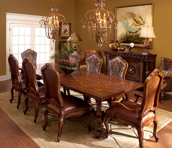 Tuscan style furniture for romantic dining room