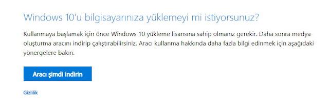Windows 7 ve Windows 8.1 işletim sistemi kullanıyor, Sıfırdan temiz bir yükleme yapmak istiyorsanız. Aracı şimdi indir butonunu kullanabilirsiniz.