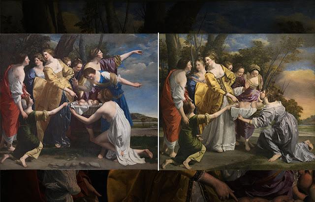 A descoberta de Moisés: primeira versão à esquerda (Londres) e segunda versão à direita (Madrid)