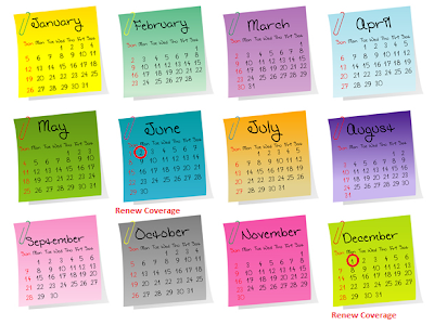 Annotated 2014 Calendar with Reminders for Renewing Short-Term Health Insurance Coverage - Source: http://www.floridahealth.gov/chd/volusia/WICCalendar.html