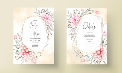 Elegant wedding invitation card with beautiful floral ornaments Free Vector