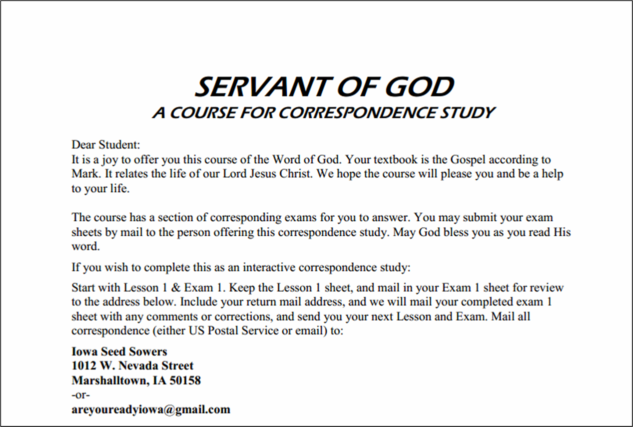Iowa Seed Sowers Bible Study The Gospel Of Mark