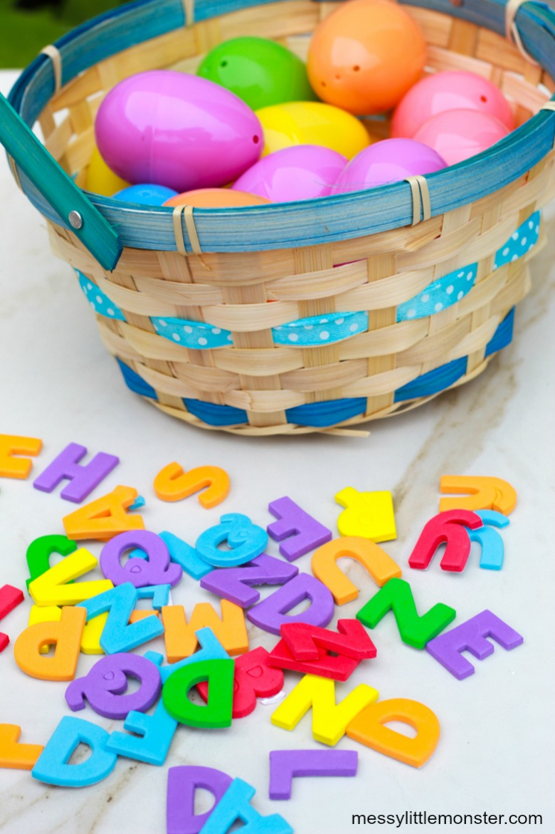 Easter egg letter hunt - Easter activities for toddlers and preschoolers