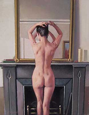 model at mirror, jack vettriano