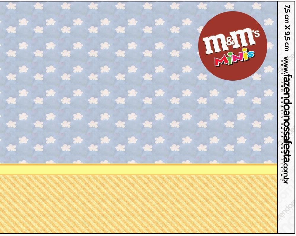 Etiqueta M&M de Nubes para imprimir gratis.