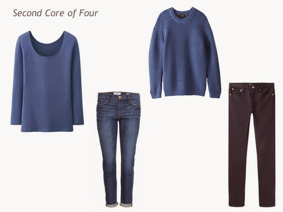Core of Four in denim blue: tee shirt, boyfriend jeans, sweater and dark-wash jeans