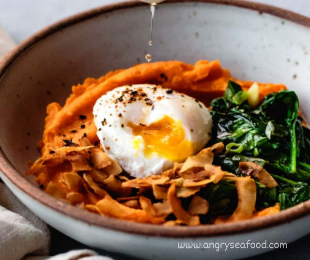 Sweet Potato Breakfast Bowl With Eggs & Greens