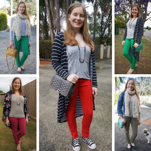 5 ways to wear a grey tee and colourful pants | awayfromtheblue