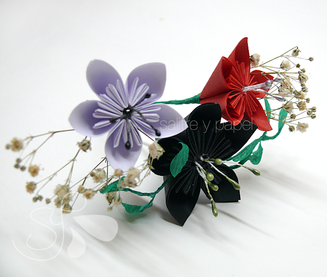 tocado flores de papel origami