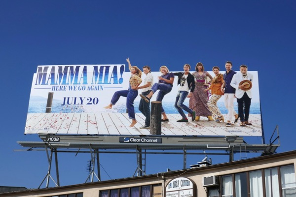 Mamma Mia Here We Go Again film billboard