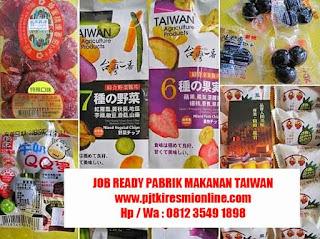 Job Ready Pabrik Taiwan Wanita, Pabrik Makanan Kaosiong Juli 2019
