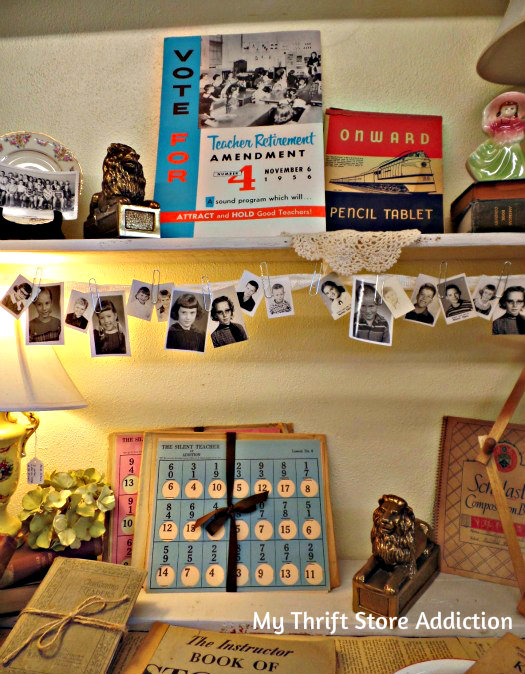 Friday's Find: Skip the Crowds & Browse Charming Mason mythriftstoreaddiction.blogspot.com Vintage school days display at Lilacs-N-Calico and Co. in Mason, Texas