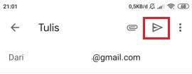 tombol untuk mengirim email yang sudah siap