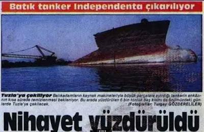 1987 yılında enkaz Tuzla'ya çekiliyor. 1979'tan 1987'ye, yani 8 sene boyunca Independenta enkazı tüm korkunçluğu ile öylece İstanbul Boğazında durdu. Manşet: Batık tanker Independenta çıkarılıyor. Nihayet Yüzdürüldü...