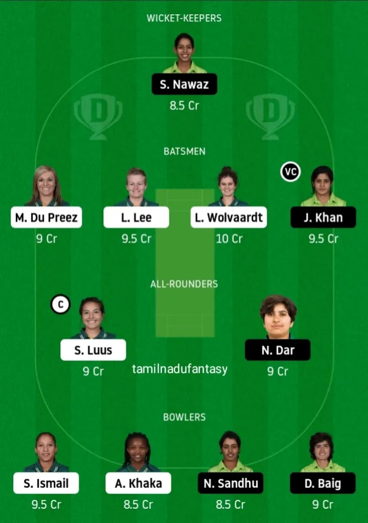 Sa w vs pak w dream 11 prediction