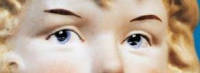Detalle de los ojos de una Baby Piano Doll de Gebruder Heubach